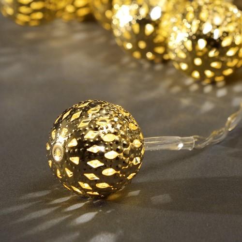 konstsmide led kugel lichterkette 20 goldene led metallb lle warmwei batteriebetrieben. Black Bedroom Furniture Sets. Home Design Ideas