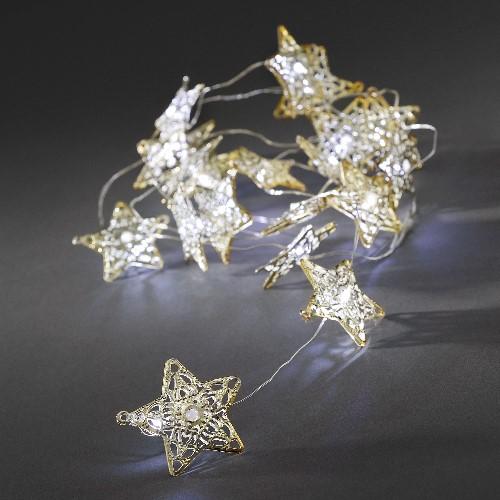konstsmide led deko lichterkette 20 goldenen led metallsterne wei batteriebetrieben. Black Bedroom Furniture Sets. Home Design Ideas