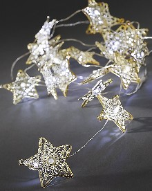 Konstsmide Led Deko Lichterkette 20 Goldenen Led Metallsterne Weiss