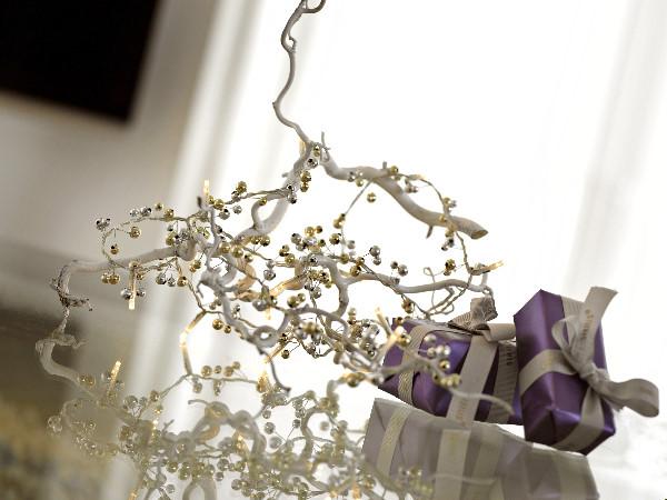 sirius led dekorations lichterkette julie goldene silberne perlen 16 warmwei e led. Black Bedroom Furniture Sets. Home Design Ideas