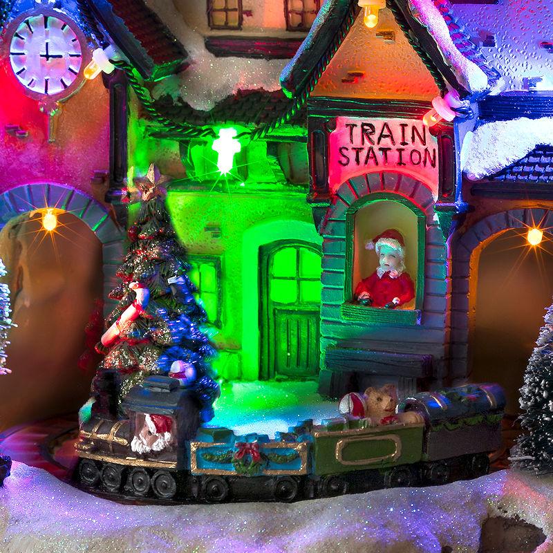 Weihnachtsbeleuchtung Außen Zug.Konstsmide Led Weihnachtsdorf Bahnhof Mit Zug Animation 8