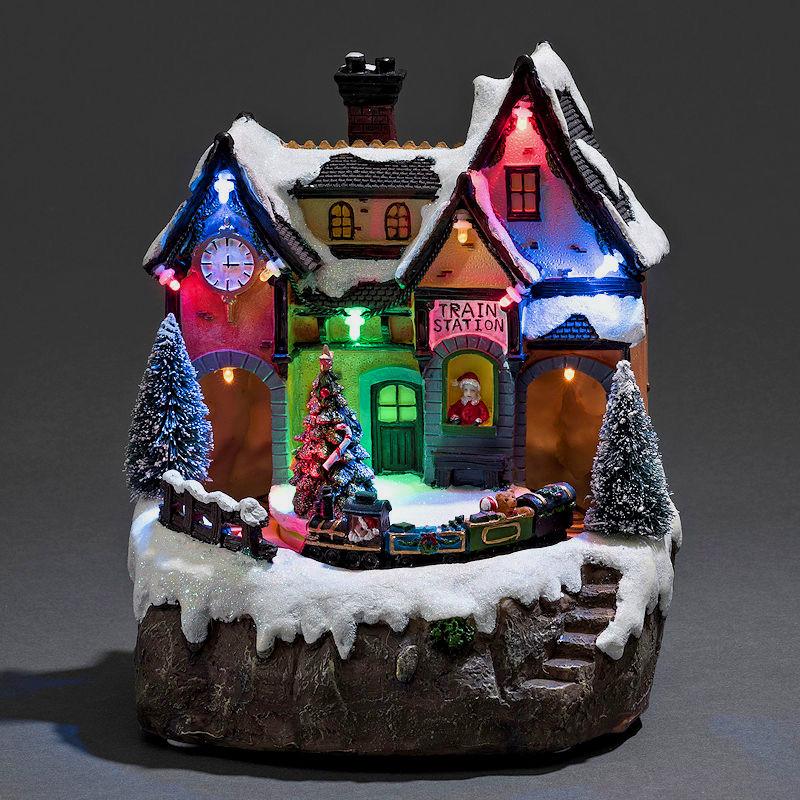konstsmide led weihnachtsdorf bahnhof mit zug animation 8 weihnachtslieder bunte led. Black Bedroom Furniture Sets. Home Design Ideas