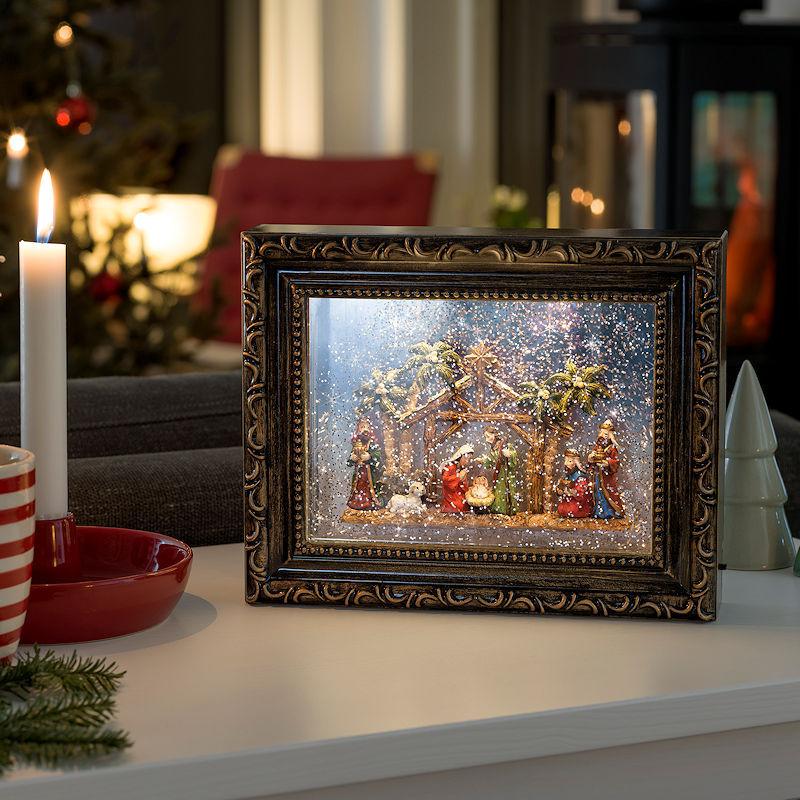 konstsmide led schnee bilderrahmen weihnachtskrippe wassergef llt 2 warmwei e led. Black Bedroom Furniture Sets. Home Design Ideas