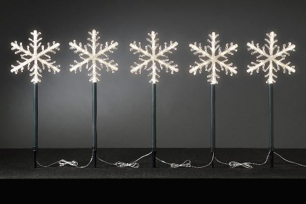 KONSTSMIDE LED-Schneeflockenstäbe 5er-Set 60 LED warmweiß