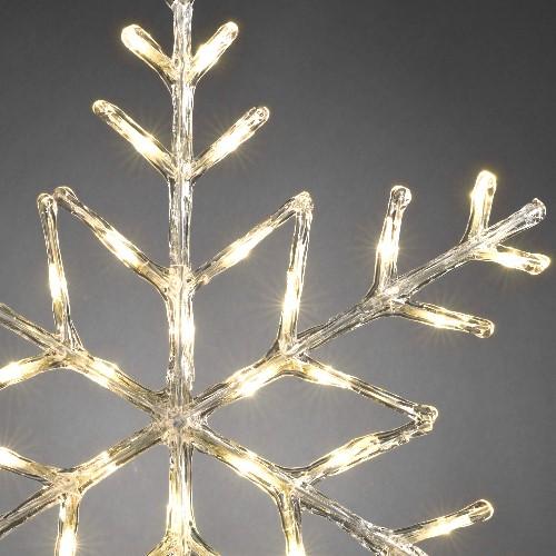 Konstsmide led acryl motiv schneeflocke 60 cm led warmwei for Weihnachtsbeleuchtung mit batterie und timer