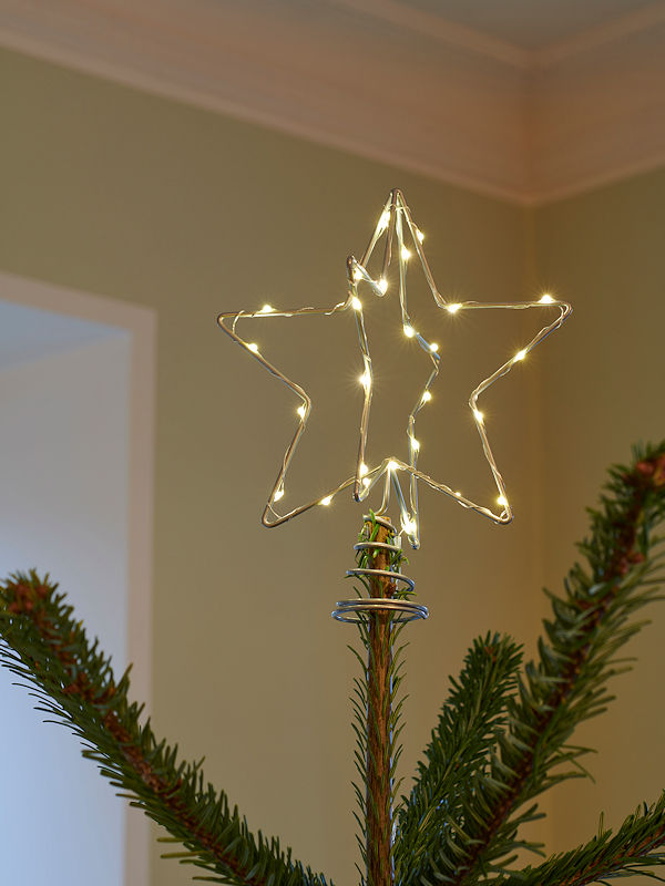 Sirius led baumspitze christmas top star silver warmwei e led batteriebetrieb timer - Led baumspitze stern ...