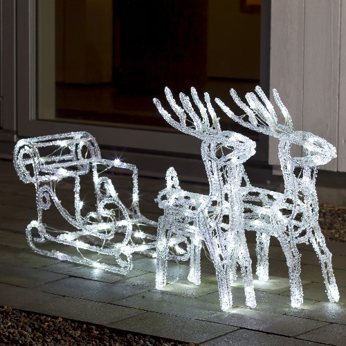 Weihnachtsbeleuchtung Aussen Motive.Led Weihnachts Motiv Rentiere Mit Schlitten