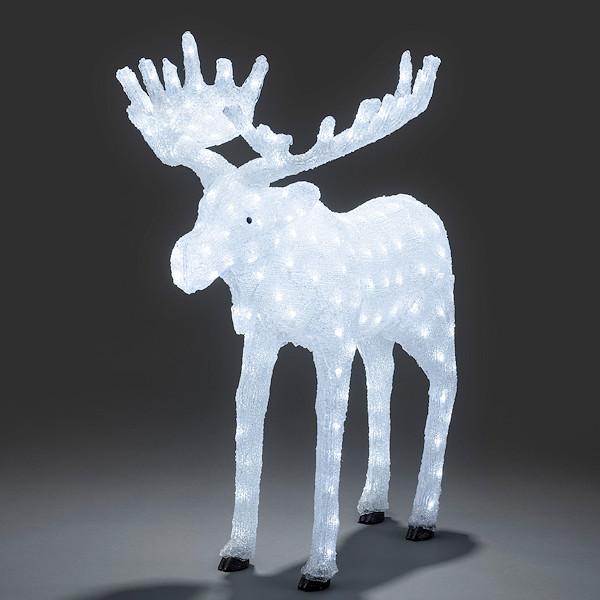 3d led acryl lichtfigur gro er elch hirsch wei e led. Black Bedroom Furniture Sets. Home Design Ideas