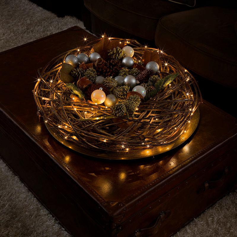 konstsmide tropfen lichterkette schwarzer draht 100 bernsteinfarbene klassisch warmwei e led. Black Bedroom Furniture Sets. Home Design Ideas