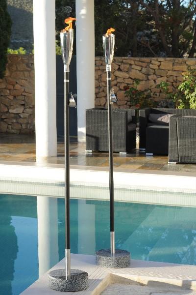 lfackel pisa maxi polierter edelstahl schwarzes holz 157 cm. Black Bedroom Furniture Sets. Home Design Ideas