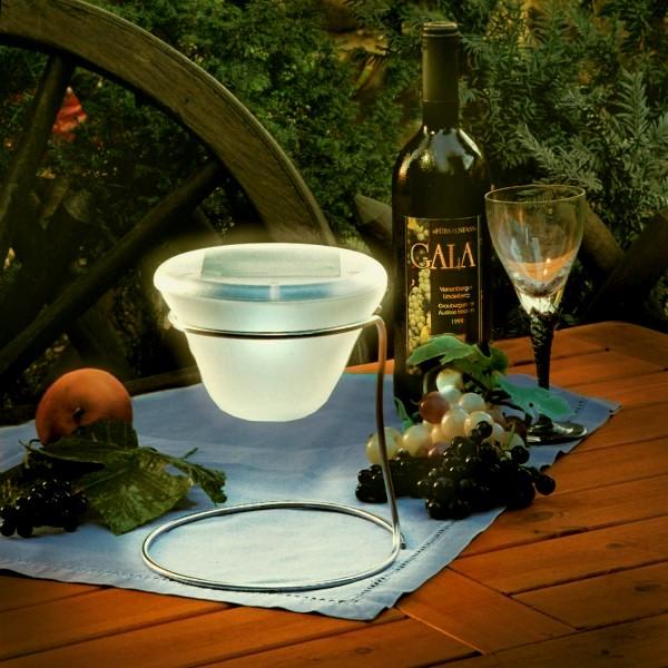design solar tischleuchte edelstahl glas warmweiss. Black Bedroom Furniture Sets. Home Design Ideas