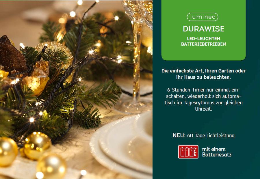 LUMINEO LED-Lichterkette DuraWise Twinklelight, 96 Ricelight-LED ...