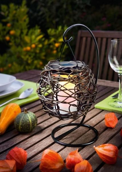 solar tischlaterne korfu flackereffekt amber. Black Bedroom Furniture Sets. Home Design Ideas