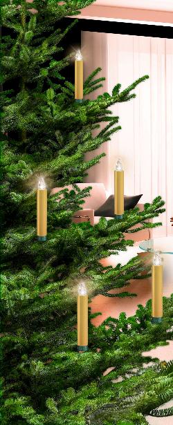 Krinner Weihnachtsbeleuchtung.Krinner Lumix Deluxe Kabellose Christbaumkerzen 10er Basis Set Gold