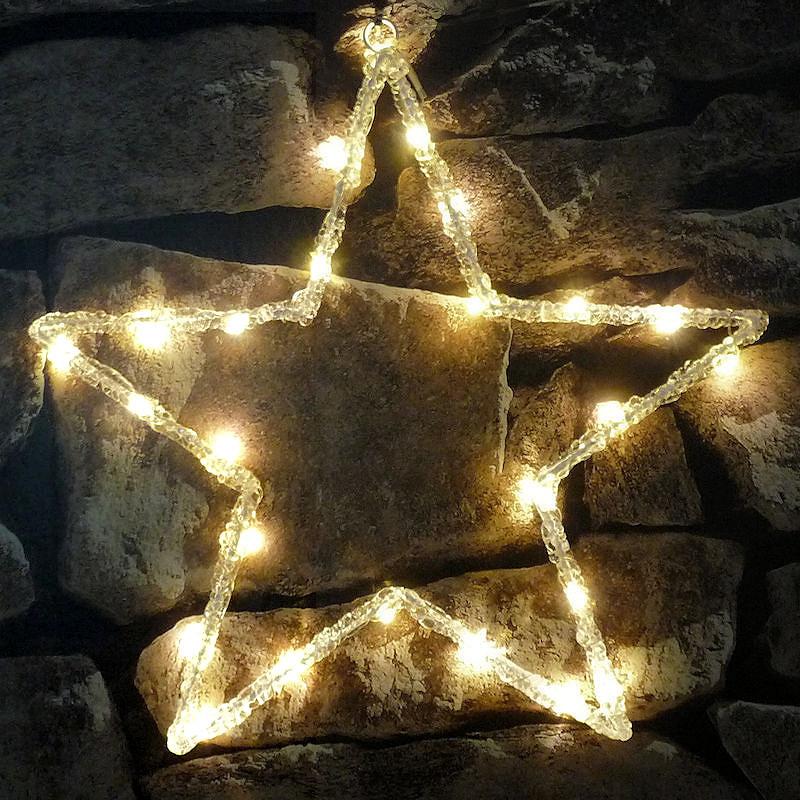 Weihnachtsbeleuchtung Aussen Motive.Lumineo Led Acryl Motiv Stern 2d Warmweiße Led Batteriebetrieb Mit