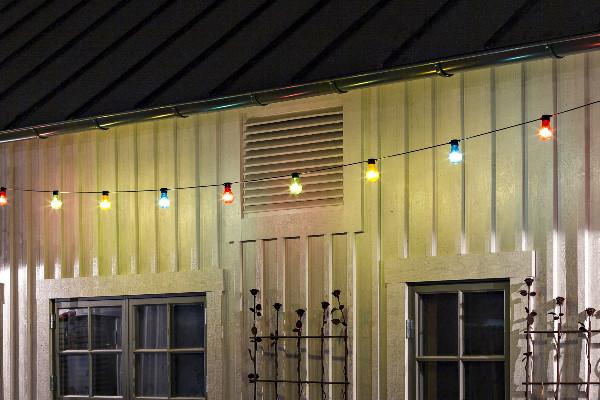 ... KONSTSMIDE LED Biergarten Lichterkette 9m 10 Bunte LED Birnen 80 LED  Warmweiß ...