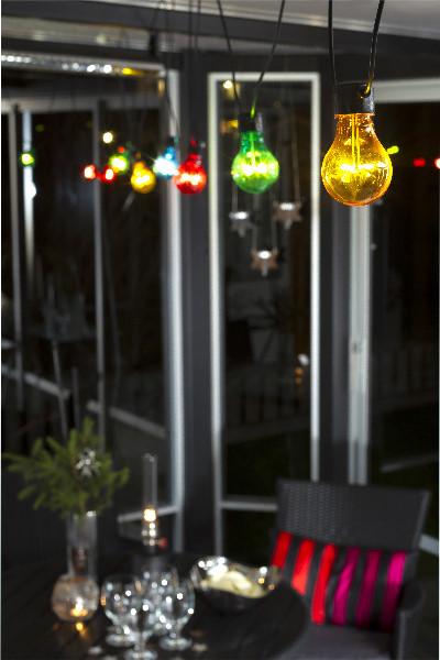 konstsmide led biergarten lichterkette basis set 9m 10 bunte led birnen 80 led warmwei. Black Bedroom Furniture Sets. Home Design Ideas