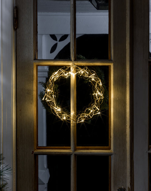 Weihnachtsbeleuchtung Kranz.Konstsmide Led Metall Kranz Gold 30 Warmweiße Led