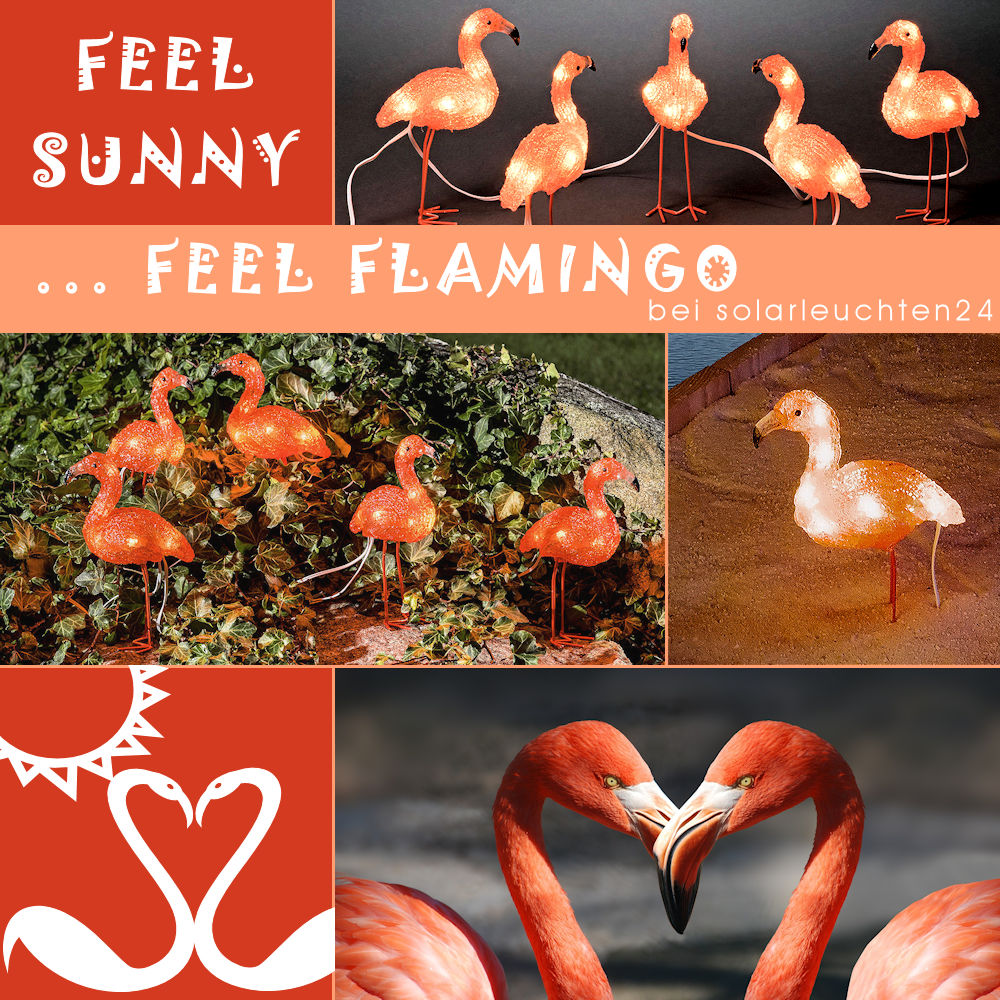 LED-Flamingo 5er-Set