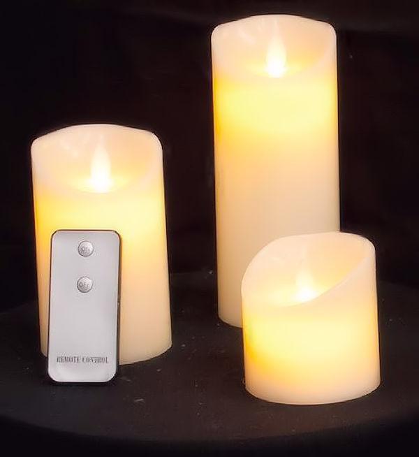 Fdl Led Kerze Echtwachs Movinflame 3er Set Elfenbein Hohe 7 5 Cm