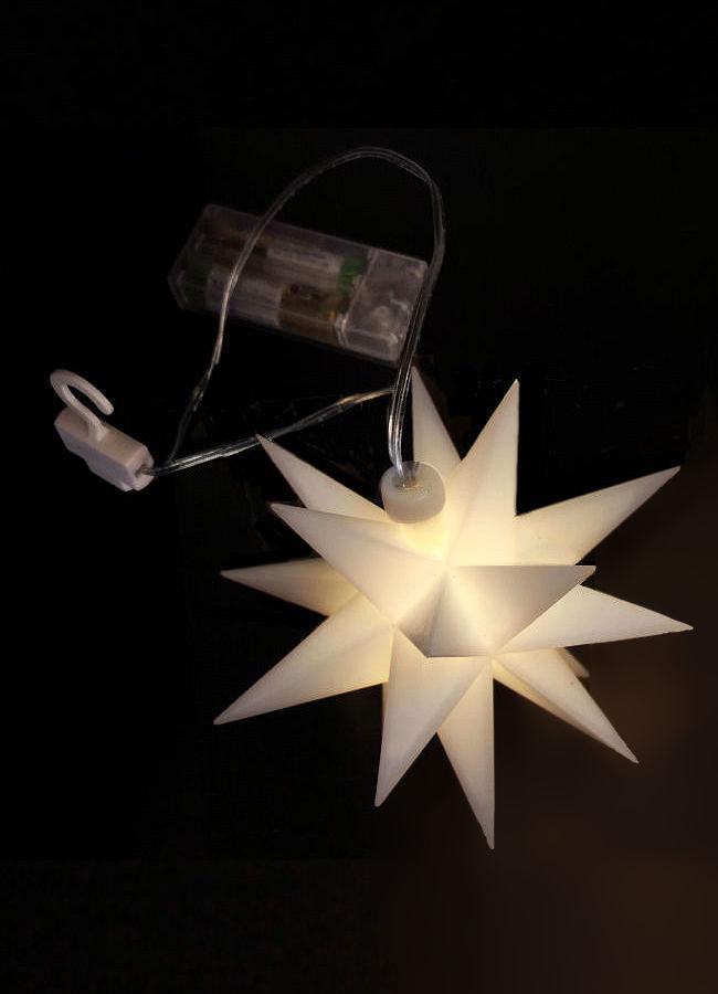 LED-3D-Weihnachtsstern Weiß 12 cm, 1 LED warmweiß
