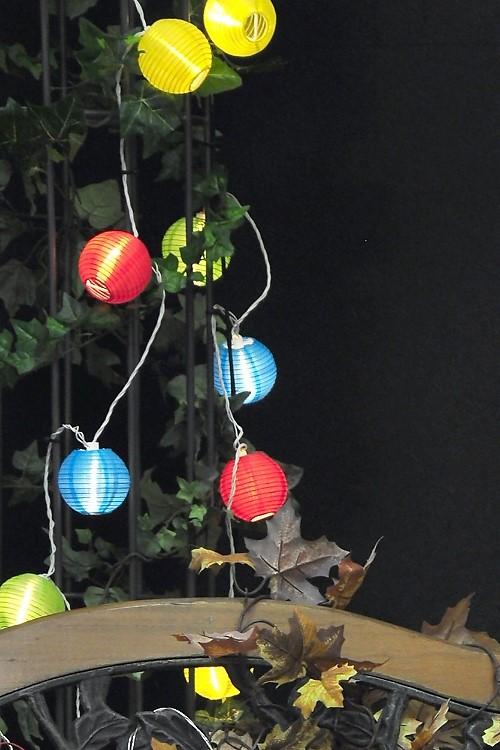 konstsmide led lampionkette 40 bunte led plastikreiskugeln 40 warmwei e led. Black Bedroom Furniture Sets. Home Design Ideas