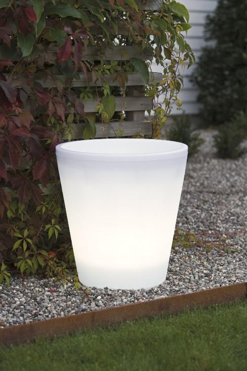 KONSTSMIDE Beleuchteter Pflanzkübel groß mit 15 LED warmweiss