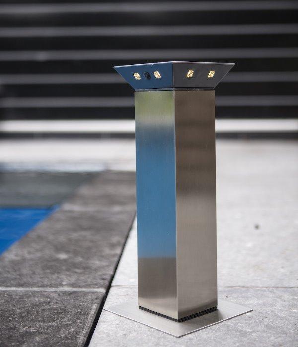 solar led sockelleuchte runway park 34 cm 8 led warmwei bewegungsmelder edelstahl. Black Bedroom Furniture Sets. Home Design Ideas