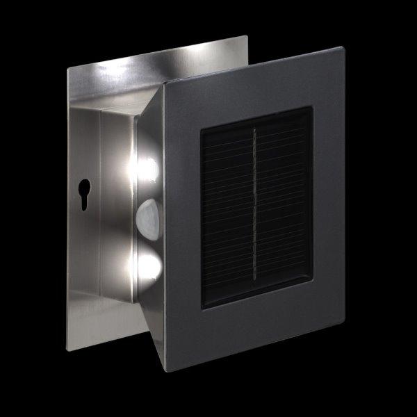 solar led wandleuchte runway wall 8 led warmwei bewegungsmelder edelstahl. Black Bedroom Furniture Sets. Home Design Ideas