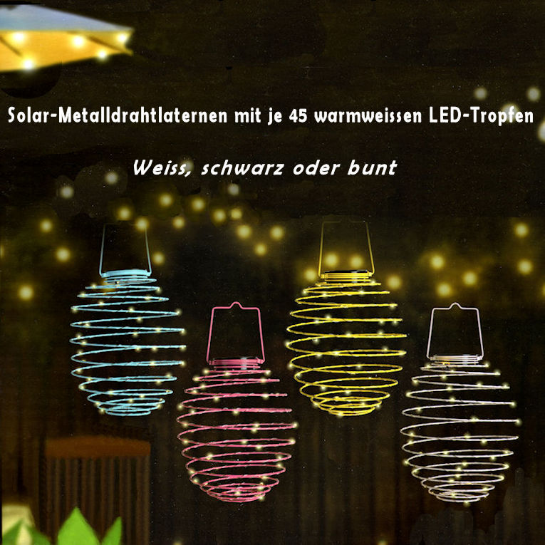 Solarlaternen Metalldraht LED warmweiss