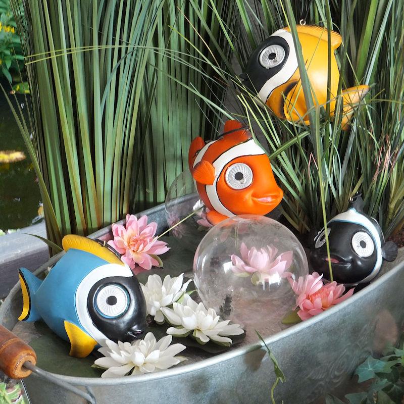 Solar Weihnachtsbeleuchtung Figuren.Solar Figuren Fische 4er Set Warmweiß Leuchtende Augen