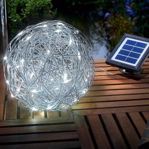 solar kugelleuchte wireball aluminium 25 cm 50 led weiss. Black Bedroom Furniture Sets. Home Design Ideas