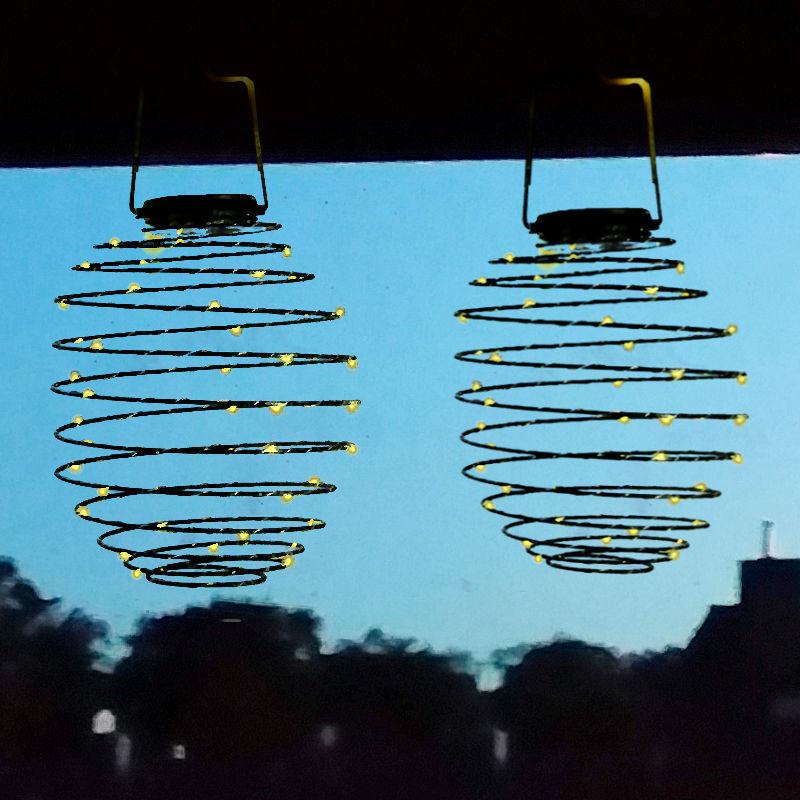 Solar-Hängelaterne Metalldraht-Spirale 2er-Set schwarz, je 45 ...
