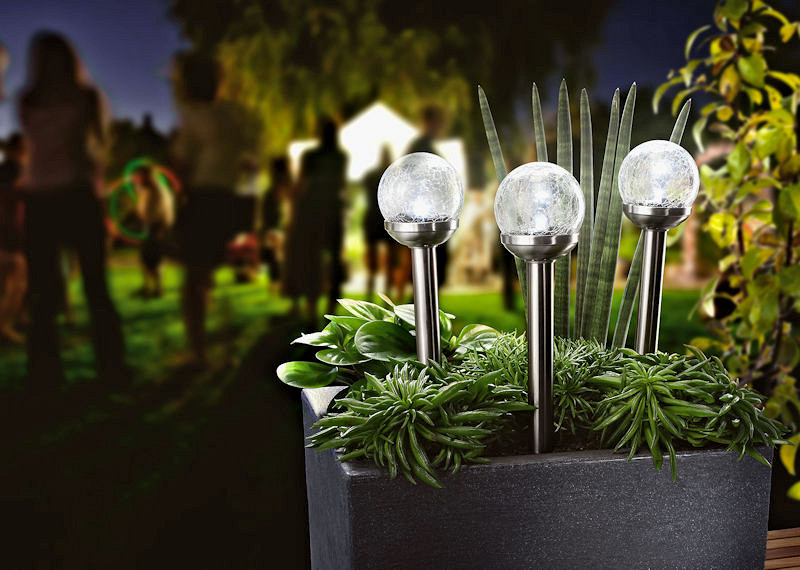 solar steckleuchten crackle balls 3er set bruch glas klar led kaltwei. Black Bedroom Furniture Sets. Home Design Ideas