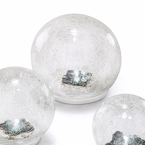 solar tischleuchten crackle balls 3er set bruch glas klar. Black Bedroom Furniture Sets. Home Design Ideas