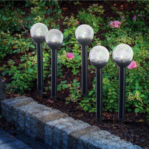 solarleuchte stick balls bruch glas klar 5er set. Black Bedroom Furniture Sets. Home Design Ideas
