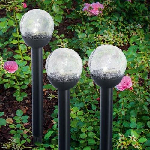 Solarleuchte stick balls bruch glas klar 5er set for Esotec solarleuchte